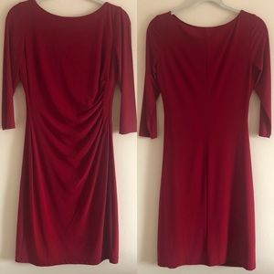 Jersey Knit Red Cowl Neck Cocktail Dress